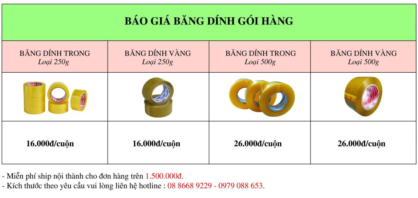 Báo giá băng dính gói hàng giá rẻ giao hàng ngay tại Hà Nội