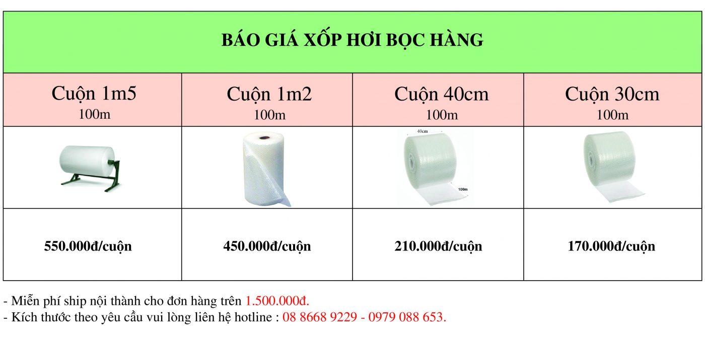 Báo giá xốp hơi bọc hàng giá rẻ giao hàng ngay tại Hà Nội